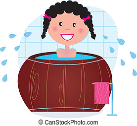 A woman soaking in whirlpool / cold