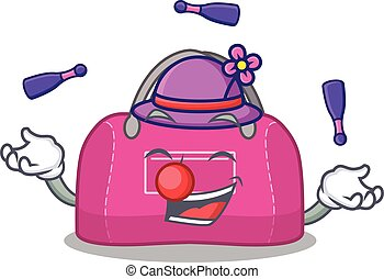 A woman sport bag cartoon design style succeed playing juggling