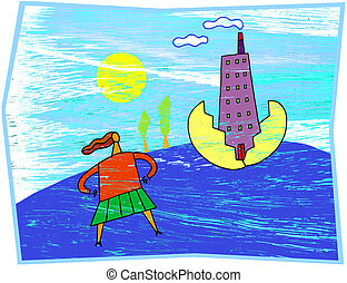 A woman standing in front of a high rise building that has hatched from a golden egg