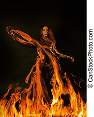 A woman symbolizing fire