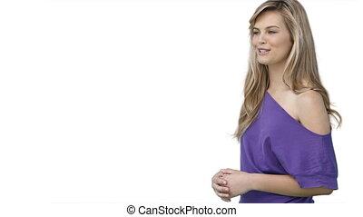 A woman talking and using a virtual display
