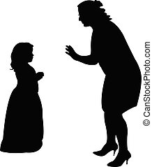 a woman talking to a girl, silhouette