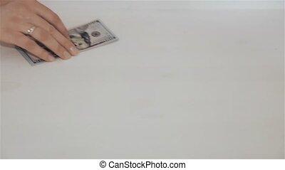 A woman transfers money to a man, HD 1920x1080p