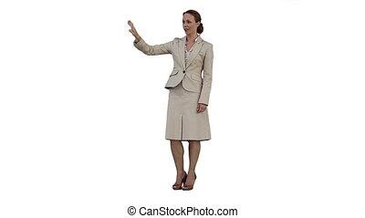 A woman using a virtual screen