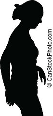 a woman walking silhouette vector