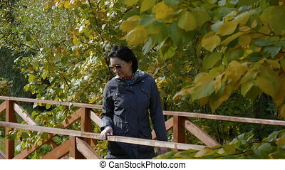 A woman walks in the park, across the bridge on a sunny day.