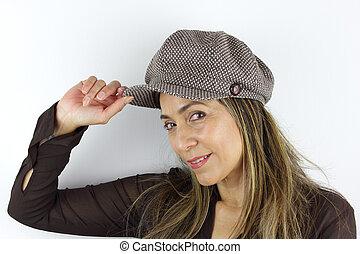A Woman wearing a cap