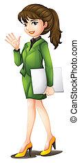 A woman wearing a green uniform