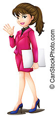 A woman wearing a pink uniform