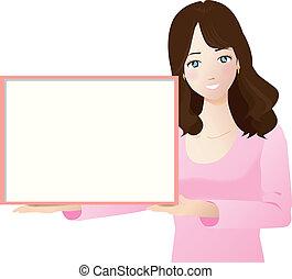A woman wiht a white board