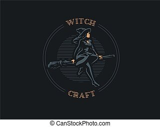 A woman witch flies on a broomstick.