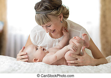 A woman with a baby