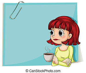 A woman with a cup of coffee with an empty paper at the back