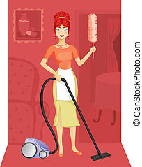 A woman with a vacuum cleaner suggests the order in the...