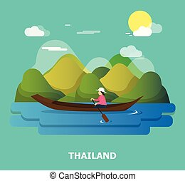 A woman with boat on the river illustration design in Thailand.vector