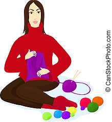 A woman with clews of different colours and knitting needle