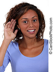 A woman with hearing problems.