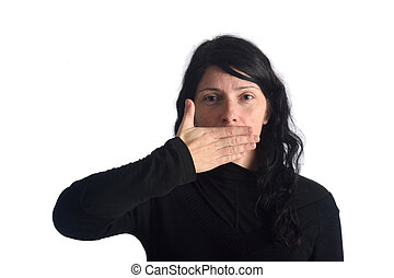 A woman with her mouth covered