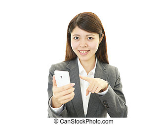 A Woman with smart phone