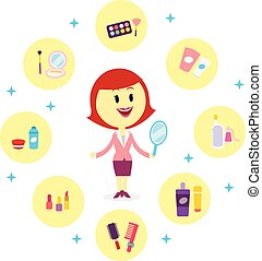 A Woman with Variety of Cosmetic Products (in Flat Cartoon Style)