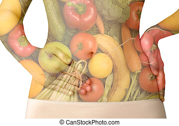 A woman's abdomen with fruits and vegetables isolated on white