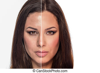A woman's portrait with retouched and without retouching is...