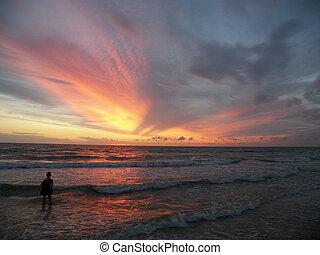 wonderful sunrise - a wonderful sunrise and a young boy