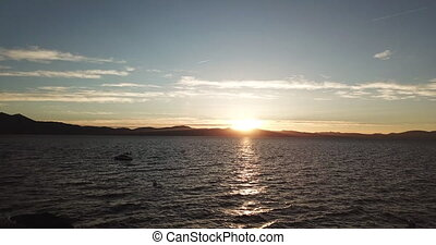 A wonderful view from the dron of Lake Tahoe during sunset....