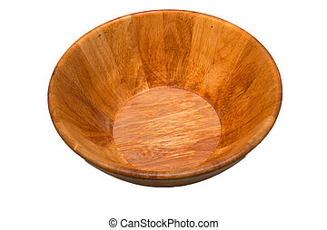 Wood bowl isolated in white background.