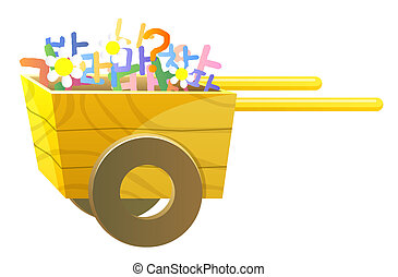 wood cart - a wood cart take flower and symol in a white...