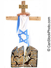 cross - A wood cross with a israel flag, a crown of thorns...