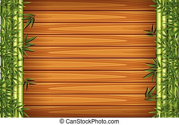A wooden background with bamboo