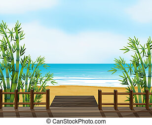 A wooden bench on a beach