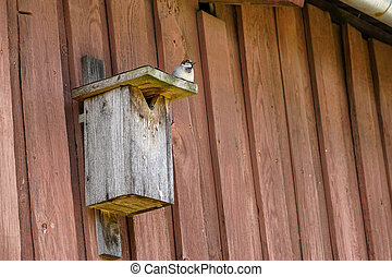 a wooden birdhouse on the wall with a sparrow on the roof
