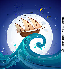 A wooden boat above the high wave - Illustration of a wooden...