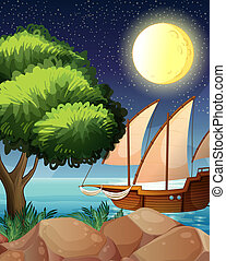 A wooden boat near the tree - Illustration of a wooden boat...