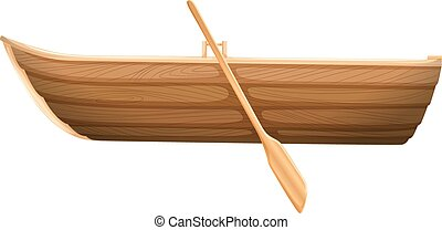 A Wooden Boat On White Background