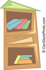 A wooden book shelf with loads of books stacked inside vector color drawing or illustration
