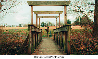 A Wooden Bridge Crossing a Small Creek in an Autumn Forest