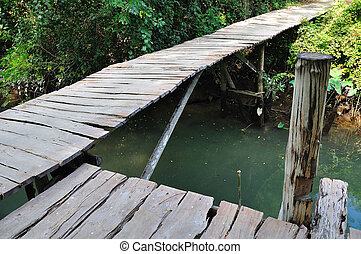 A wooden bridge on river