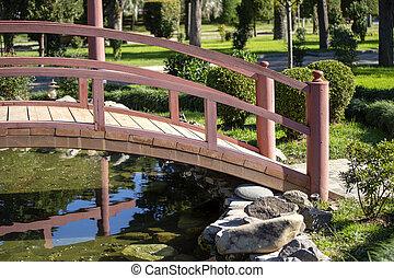 A wooden bridge over a pond in a Japanese garden