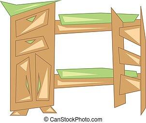 Wooden bunker bed vector or color illustration