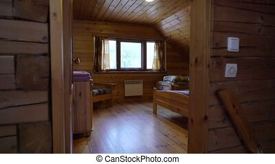 A wooden cottage indoors. Luxury house for vacations...