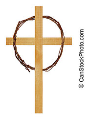 A wooden cross with a wreath