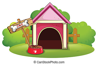 A wooden doghouse at the yard - Illustration of a wooden...