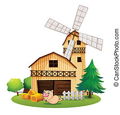 A wooden farmhouse with a playful pig