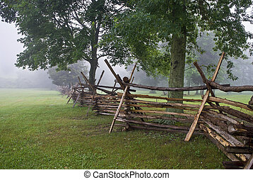 Monmouth Battlefield - A Wooden fence along the open field...