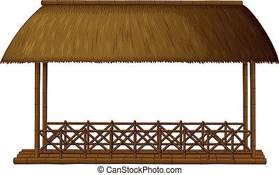 A wooden floating cottage