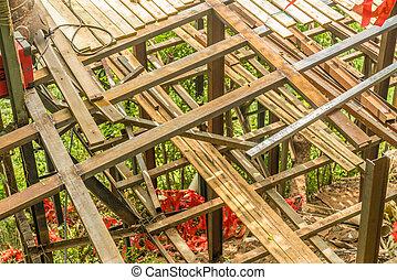 A wooden frame built.