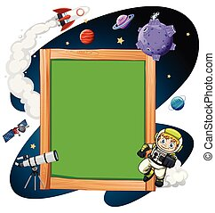 A wooden frame space scene